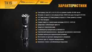 Фонарь Fenix TK15UE CREE XP-L HI V3 LED Ultimate Edition GRAY